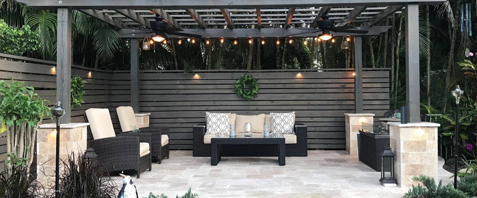outdoor sitting area under a pergola